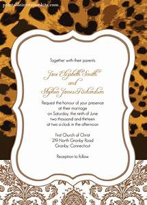 Leopard print wedding invitation wedding invitation for Leopard print invitations templates