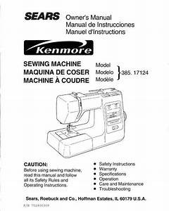 Kenmore 385 17124 Sewing Machine Instruction Manual