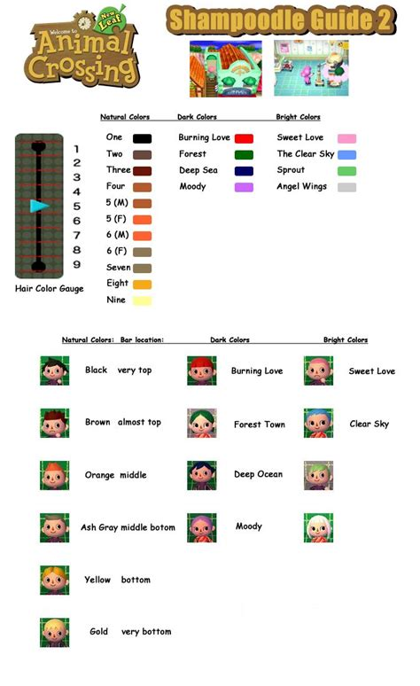 animal crossing  leaf hair color guide acnl guide