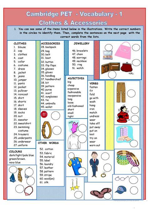 cambridge pet vocabulary 1 worksheet free esl