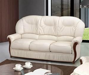 canape fixe 3 places contemporain en cuir blanc wilfried With canape cuir blanc contemporain