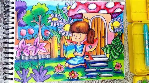 mewarnai gambar taman bunga mewarnai terbaru lucu
