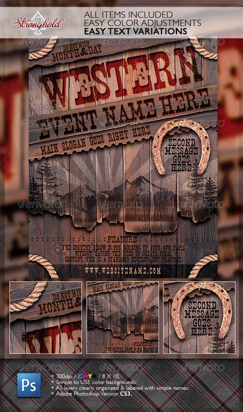 vintage western wood flyer template wwwmoderngentzcom