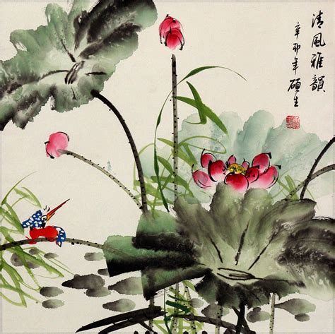 King Fisher And Lotus Flower Painting  Birds & Flowers