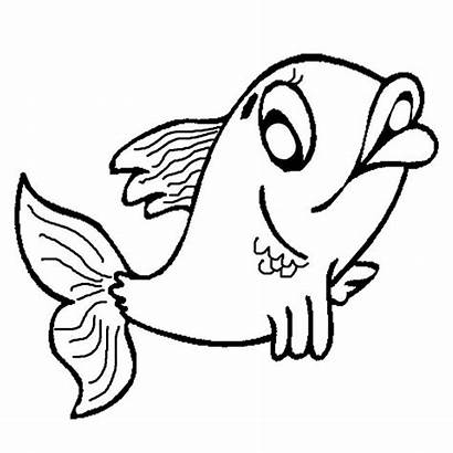 Fish Template Coloring Drawing Printable Templates Cartoon