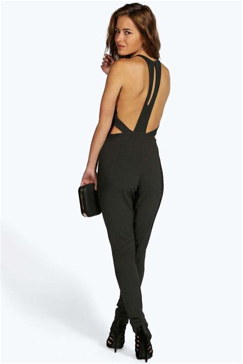 destina cut jumpsuit crepe cut out back jumpsuit at boohoo