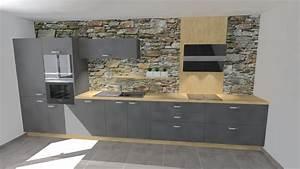 Idees de salle cuisine moderne for Idee deco cuisine avec cuisine blanche et grise et bois
