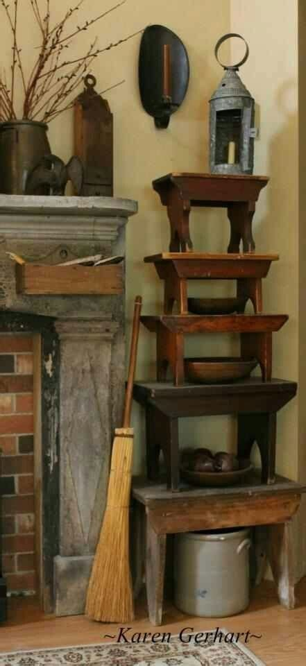 Olde Prims Stools Crocks Lanterns Photo Karen