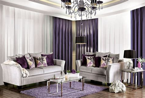 oliviera silver living room set from furniture of america