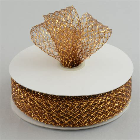 deco flex mesh ribbon metallic chocolatecopper