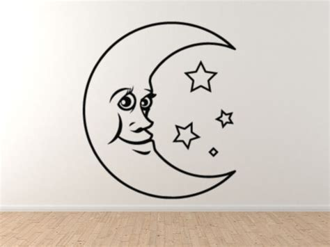 Cute Cartoon Crescent Moon Face