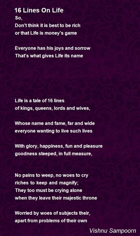 16 Lines On Life Poem By Vishnu Sampoorn  Poem Hunter