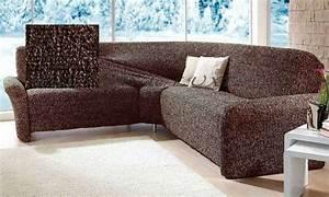 Couchbezug Für Eckcouch : ecksofa sofahusse husse braun beige stretchhusse stretch ~ Watch28wear.com Haus und Dekorationen