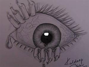 Drawing Of Scary Eye With Sad Hindi Poem   Kuldeep Yadav ...