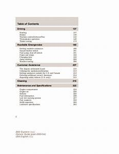 2003 Ford Explorer Owners Manual
