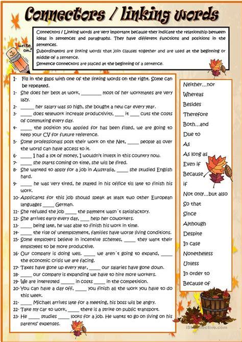 connectors linking words worksheet  esl printable