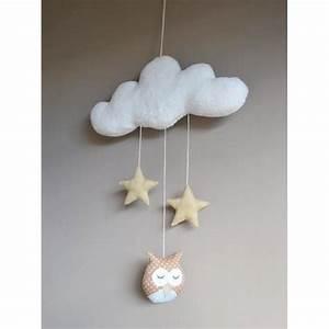 Mobile Pour Bébé : mobile fait main avec des hiboux suspendus un nuage pour d corer la chambre de b b avec ~ Teatrodelosmanantiales.com Idées de Décoration