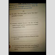 Sentence Reordering Form Meaningful Sentences Write The Conected Sentences In The Space Provided