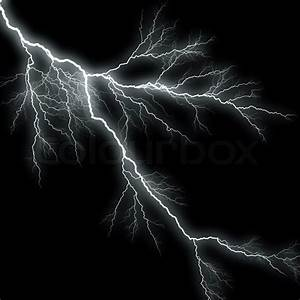 Bolts of lightning isolated over a black background ...