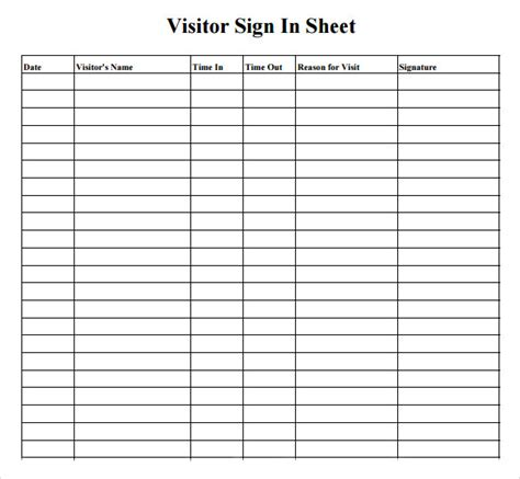 visitor sign  sheet   samples examples format
