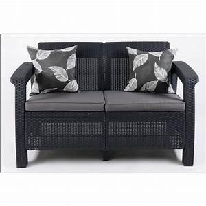 Sofa Grau Günstig : justhome corfu sofa couch gartenm bel rattan 2 sitzer sofa anthrazit grau g nstig online kaufen ~ Watch28wear.com Haus und Dekorationen