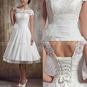 Vintage short wedding dress tea length white ivory bridal for Ebay wedding dresses size 8