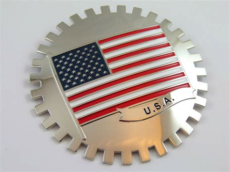 Grille Badge Usa Flag For Car Truck Grill Mount American