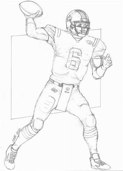 Football Drawing Nfl Coloring Player Pages Realistic