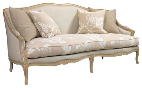 Chambery French Country Beige Ivory Paisley Upholstered