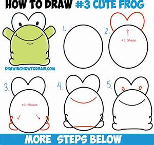 How to Draw Cute Cartoon Baby Frog from Number 3 Shape ...
