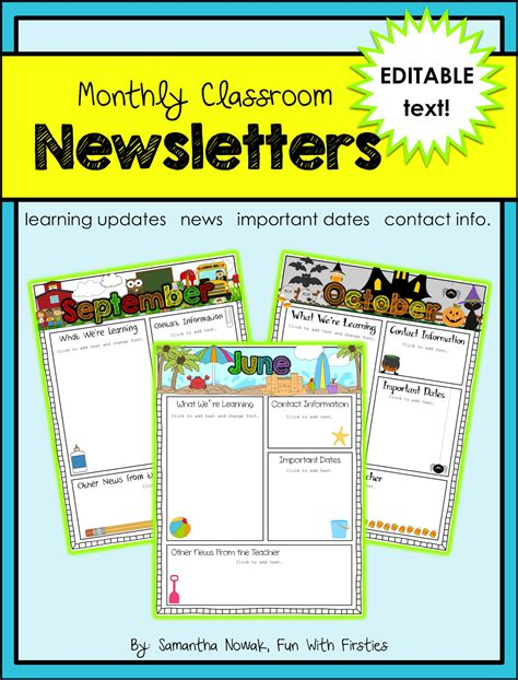 editable newsletter template with firsties best of back to school