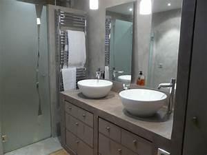 salle de bain beton cire contemporain salle de bain With porte de douche coulissante avec vasque salle de bain beton ciré
