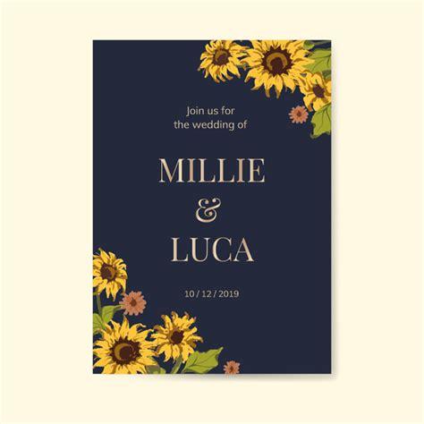 sunflower wedding invitation card template vector