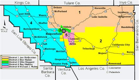 Kern County District Supervisor Areas Map - Bakersfield Ca ...
