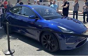 Tesla Model Y goes on display outside of its Fremont seat factory