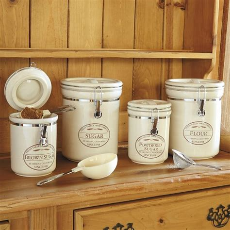 kitchen canisters flour sugar chefs fresh valley farm 4 canister set