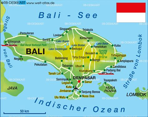 karte von bali insel  indonesien welt atlasde