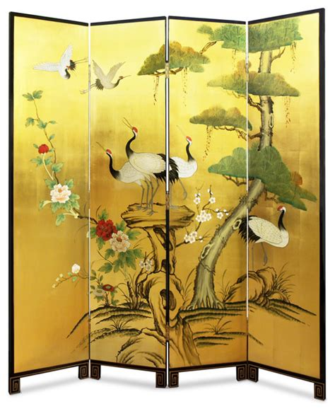 hand painted gold leaf floor screen asian screens and room dividers by china furniture and