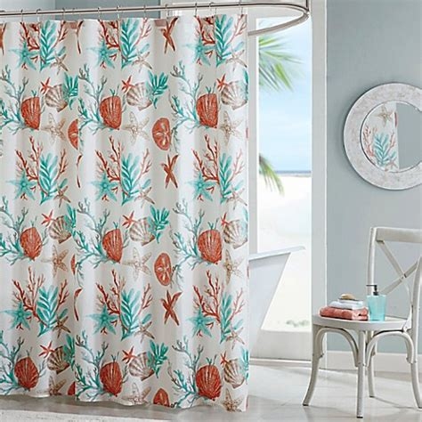 madison park pebble beach printed shower curtain  coral