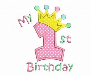 1st Birthday Applique Embroidery Design, Princess Crown ...