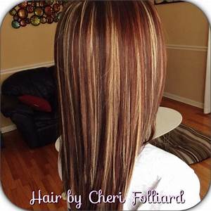 Dark brown over all color with blonde & red highlights ...