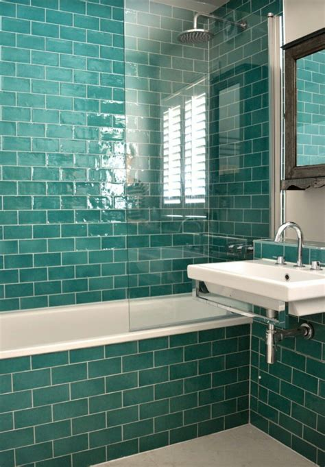 teal metro tiles home style bathrooms