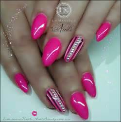 Hot Pink and White Gel Nails