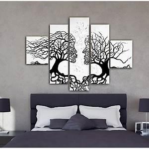 Tableau Deco Noir Et Blanc : tableau peinture embrassez vos racines noir et blanc tableau peinture triptyques deco soon ~ Teatrodelosmanantiales.com Idées de Décoration