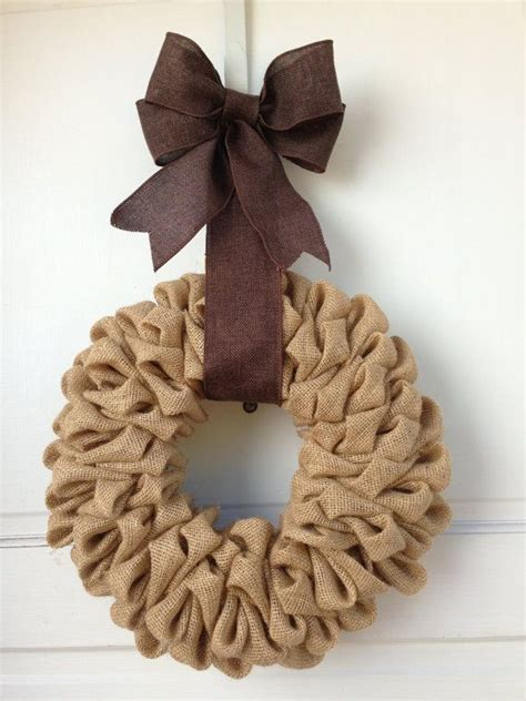 tan light brown burlap wreath with dark brown burlap bow hanger fall wreath thanksgiving decor