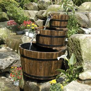 solar powered edinburgh wooden barrel garden water feature with led water features 2 go