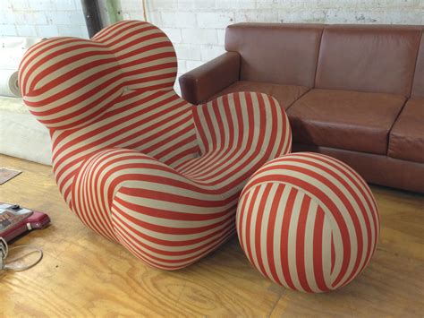Curved Modern Red And White Striped Chair With Matching