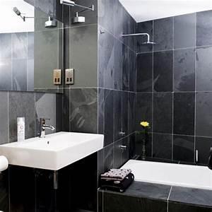 Photo Salle De Bain Moderne : le carrelage noir entre dans la salle de bain et la ~ Premium-room.com Idées de Décoration