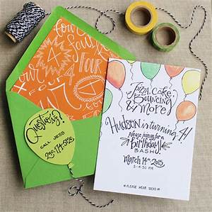 hudson39s hand lettered birthday party invitations With hand lettered invitations