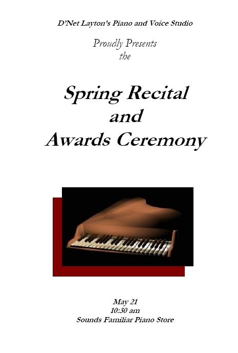 flyer templates microsoft word 2010 recital program templates layton music games and resources